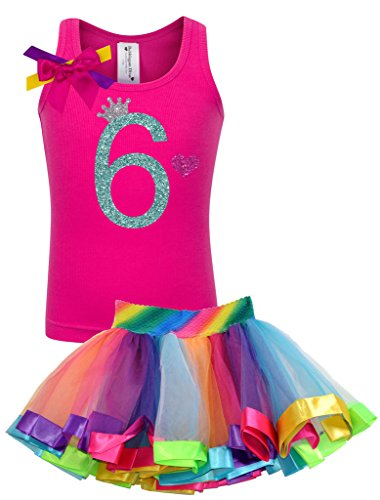 Bubblegum Divas Big Girls' 6th Birthday Rainbow Tutu Outfit 6 (Disco Themed Clothes)