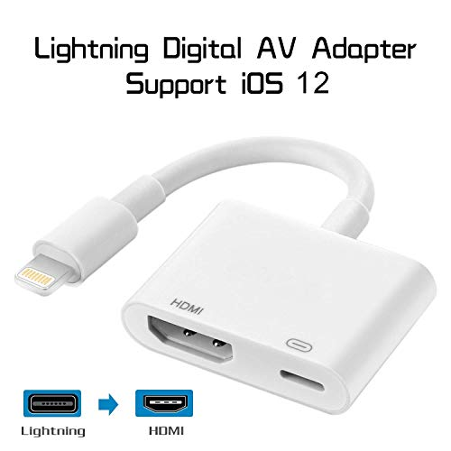 Compatible with iPad iPhone to HDMI Adapter Cable, Braole Connector, Digital AV Adapter Support 1080P HDTV Converter Compatible with iPhone Xs MAX XR X 8 7 6Plus iPad to TV Projector Monitor (White) (Iphone Av Cable)
