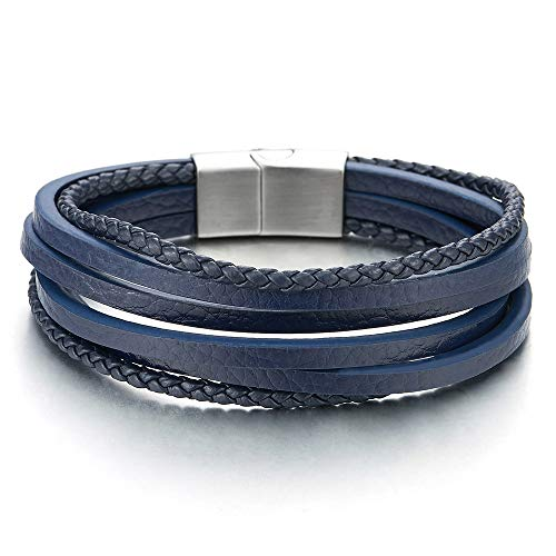 COOLSTEELANDBEYOND Mens Womens Multi-Strand Navy Blue Braided Leather Bracelet Wristband with Steel Magnetic Clasp (And Bracelets Mens Womens)