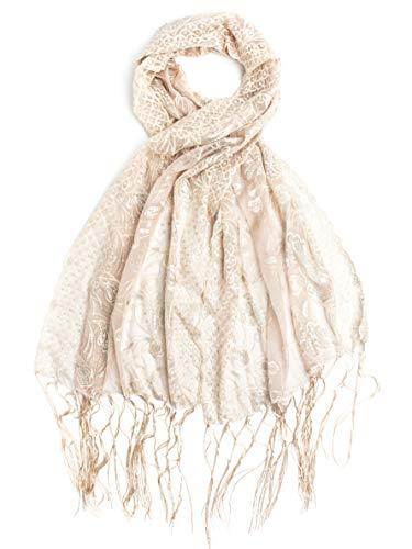 - Bohomonde, Amaryllis Shawl, Sequin Evening Wrap, Embroidered Sequin Shawl (Ivory/Satin Ivory)