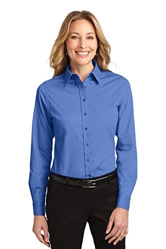 Port Authority Ladies LS Easy Care Shirt-M (Ultramarine Blue)
