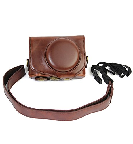 CEARI Vintage Leather Camera Case Bag with Strap for Canon P