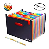 Expanding File Folder/24 Pockets A4 Accordion File Organizer/ Multicolor Portable Expanding Wallets/ High Capacity Plastic Stand Bag With Colored Tab For Business/Office/Study