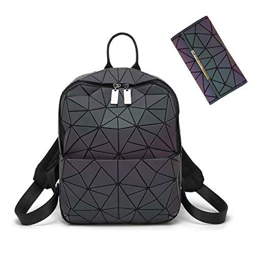 HotOne Geometric Luminous Backpack and Holographic Wallet Daypack & Purses (No.3 + Wallet Set) No.3 + Wallet Set