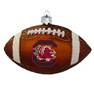 NCAA South Carolina Fighting Gamecocks Blown Glass Football Ornament