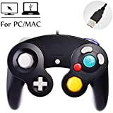 Reiso Gamecube Style 1 Pack Classic Gamecube USB Wired Controller Gamepad for Windows PC MAC(Black)