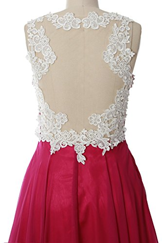 MACloth Women Lace Straps Ruched Chiffon Short Prom Dress Formal Cocktail Gown Fuchsia
