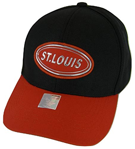 St. Louis Oval Patch Style Adjustable Baseball Cap (Black/Red) (Cap Oval Patch)