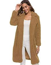 Soluo Women's Fuzzy Fleece Coat Lapel Open Front Long Shaggy Cardigan Overcoat Fashion Warm Winter Outwear Jackets