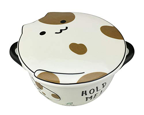 - VanEnjoy Big Capacity 30oz 3D Cute Cartoon Microwave Ceramic Soup Cat Bowl Instant Noodle Bowl Cereal Bowl for Salad Fruit Vegetable with Ceramic Kitty Cat Lid and Handles (flower)