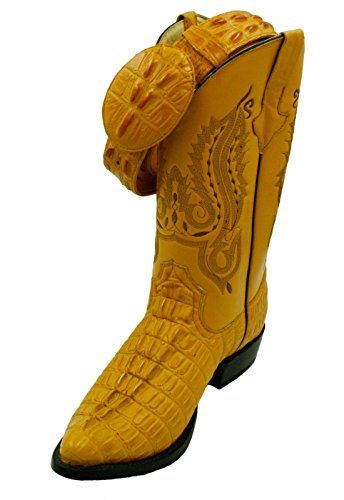 Men Genuine Cowhide Leather Crocodile Print Western j Toe Boots with Free Belt
