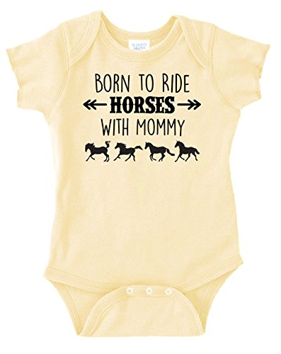 Born to Ride Horses with Mommy, Short Sleeve Horse Bodysuit, Baby Boy or Girl (6 Months, Yellow)