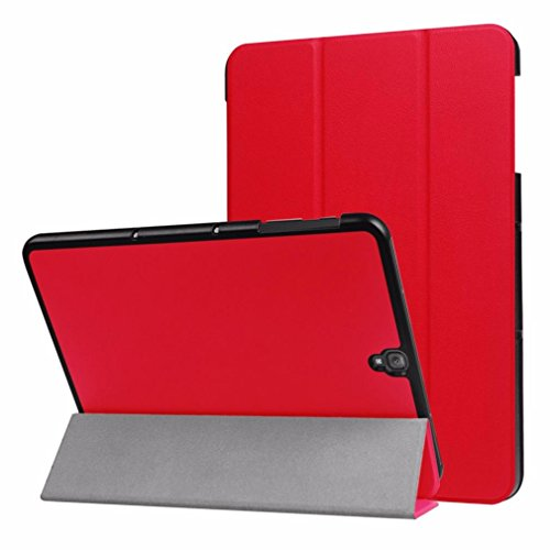 Coohole New Luxury Slim Folding Leather Protective Case Cover For Galaxy Tab S3 9.7inch (Red)