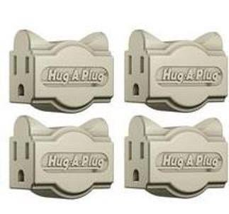 Hug-A-Plug Dual Outlet Wall Adapter, 4 Pack Ivory