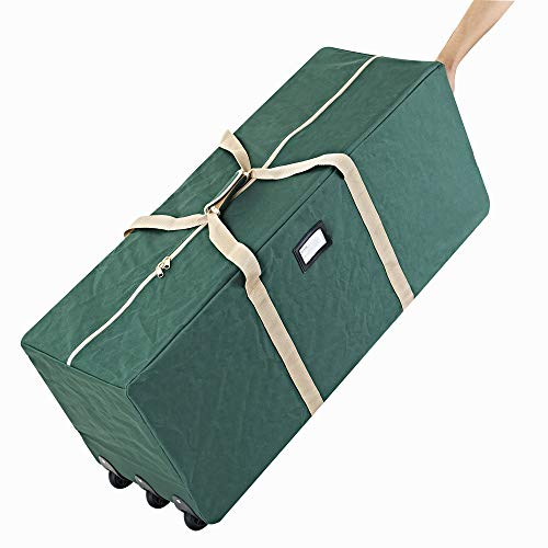 ProPik Holiday Rolling Tree Storage Bag, Extra Large Heavy Duty Storage Container, 25 Height X 20 Wide X 60 Long with Wheels & Handles Fits Up to 9 Foot Tall Disassembled Trees 600D Oxford (Green)