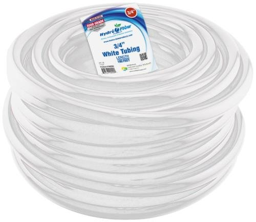 Hydro Flow 100 ft Roll Vinyl Tubing, White - 3/4'' ID x 1'' OD