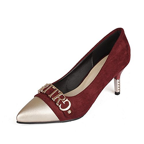 BalaMasa Womens Pointed-Toe Two-Toned Low-Cut Uppers Urethane Pumps-Shoes Claret DUILXuH
