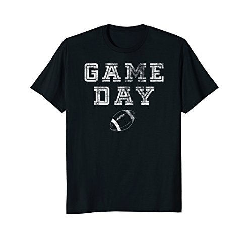Football Game T-shirt (Mens Game Day Football T-Shirt with Distressed for Football Fans Large Black)