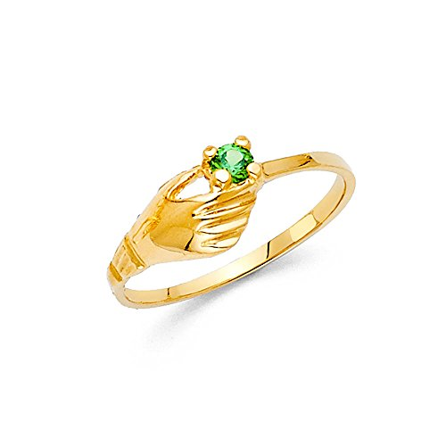 Solid 14k Yellow Gold Fashion Ring Green CZ Single Stone Band Holding Hand Design Stylish Fancy, Size ()