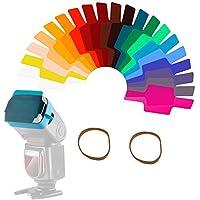 20 Piezas Filtro de Gel Kit Cámara Flash Speedlite Color Iluminación, Lámina de Corrección de Color Transparente Láminas…