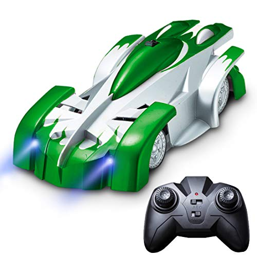 Gravity Defying RC Car Toys - Remote Control Car Toys for Boys or Girls, LED Light Up Stunt Cars for Kids w/ Remote Control (Green)
