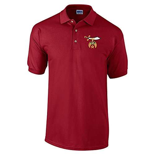 Logoz USA - Shriners Polo Golf Shirt Masonic Apparel Personalized Clothing- Mens Dress Shirt Red - Masonic Golf T-shirt