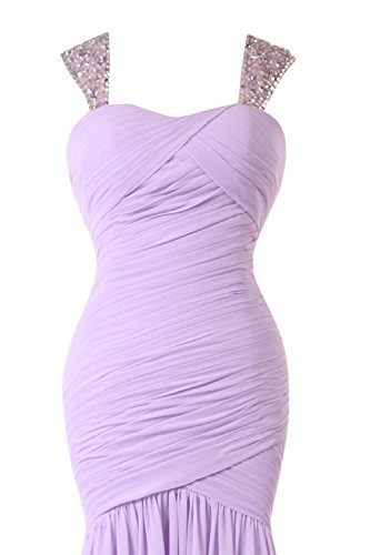 Beaded Prom Chiffon Fuchsia Bridal Bess Women's Mermaid Dresses Straps xw7aqA