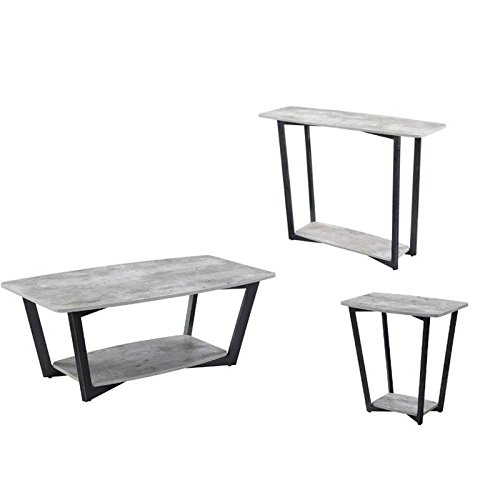 Home Square 3 Piece Coffee Table Set with Graystone Coffee Table, Console Table, and End Table in Faux Birch Birch Set Coffee Table