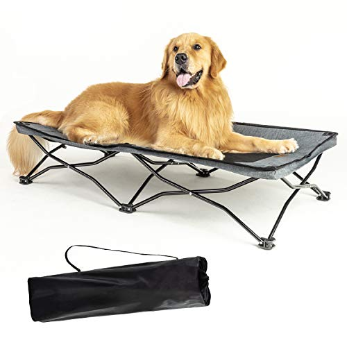 YEPHHO Large Elevated Folding Pet Bed Cot Travel Portable Breathable Cooling Textilene Mesh Sleeping Dog Bed 46 Inches Long (Grey) (The Best Travel Cot)