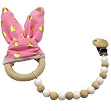 Amyster Pacifier Clip Wooden Teether Montessori toy Silicone Beads Wood Ring Pink Gold Point Bunny Ear Wooden Baby Nursing (Pink Gold Point)