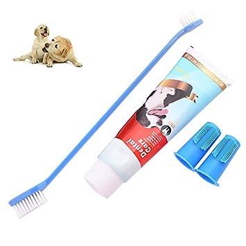 Petacc Cepillo de Dientes Perros y Pasta de Dientes Kit de Higiene Dental para Mascotas Kit