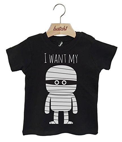 Batch1 I Want My Mummy Cute Halloween Fancy Dress Popper Neck Baby T-Shirt (18-24 Months, (Dress Mummy Halloween)