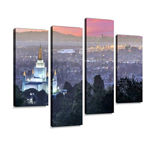 (Oakland Temple and City from Oakland Hills. Canvas Wall Art Hanging Paintings Modern Artwork Abstract Picture Prints Home Decoration Gift Unique Designed Framed 4 Panel)