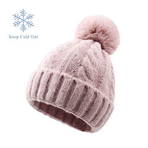 XIAOHAWANG Baby Boys Girls Hats Faux Fur Pom Pom Toddler Winter Beanies Warm Kids Knit Lovely Caps Infant Christmas (1-5Years, Pink ()