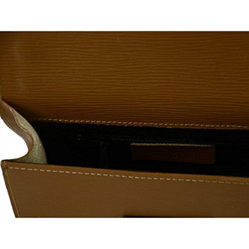 Tracolla Donna In Vera Pelle Colore Cognac - Pelletteria Toscana Made In Italy - Borsa Donna