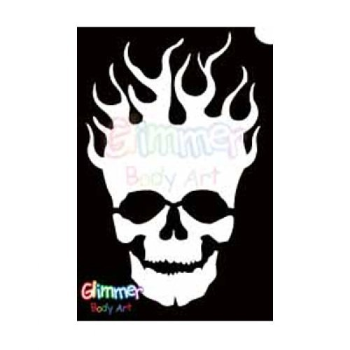 Glimmer Body Art Glitter Tattoo Stencils - Flaming Skull (5/pack)]()