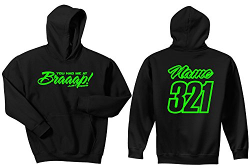(JUST RIDE Braaap! His or Hers Motocross Hoodie Sweatshirt Number Plate Custom Personalized Lime Green (Large, Hers Lime))
