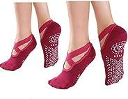 BESIXER Yoga Socks for Non-Slip Grips, Pure Barre, Ballet, Dance(2 Pairs)