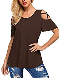 Amoretu Women's Criss Cross Casual V Neck Summer Cold Shoulder Tops T Shirts