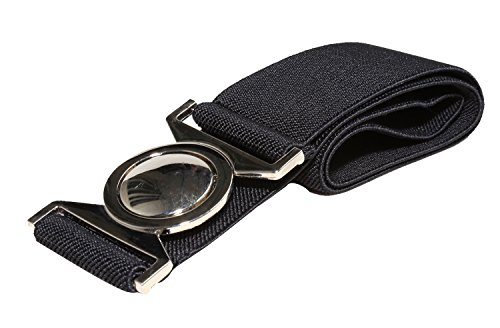 "Modeway Women's 1.5"" Wide Silver Round Buckle Elastic Stretch Cinch Waist Belts (L-XL, Black)"
