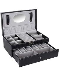 Black Jewelry Box 6 Watch Organizer Storage Case with Lock and Mirror UJWB11B