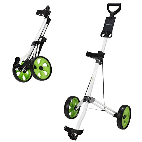 - Caddymatic Golf Lite Trac 2 Wheel Folding Golf Cart White/Green