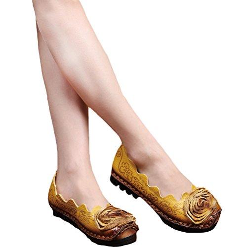 Mordeniss Frauen fallen neue flache Blumenmuster Schuhe Stil 1-gelb