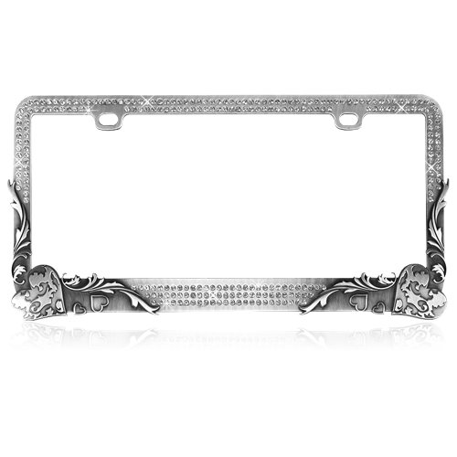 - Elegant Vintage Hearts with T-Smoke Crystals Design Metal Frame with Crystals for