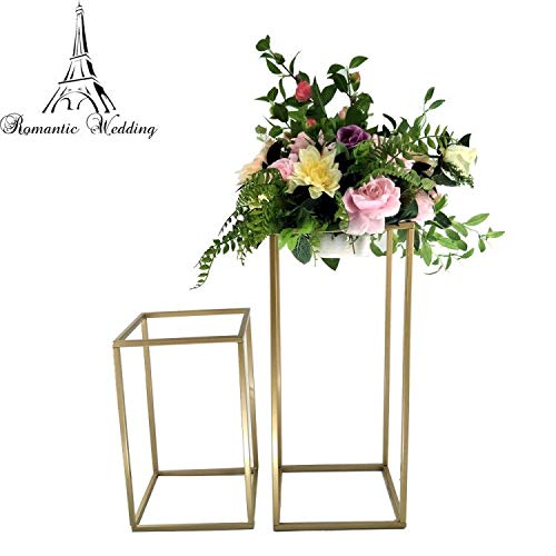 Wedding Flowers Gold - New Style Different Sizes Wedding Metal Gold Color Flower Vase Column Stand for Wedding Centerpiece Decoration 10pcs/lot (39X10X10 inches)