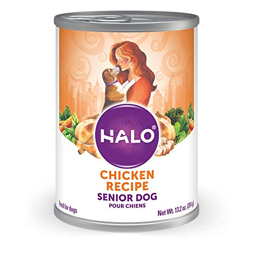 Halo Natural Wet Dog Food, Senior Chicken Recipe, 13.2 oz Can (Pack of 6)