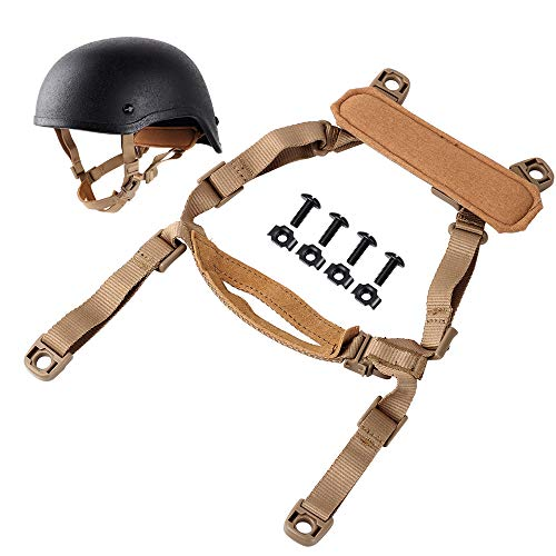 AIRSOFTPEAK Airsoft Helmet Chin Strap for Fast ACH MICH Tactical Helmets, H-Nape Suspension System, 4 Points Chin Strap with Bolts and Screws, Tan