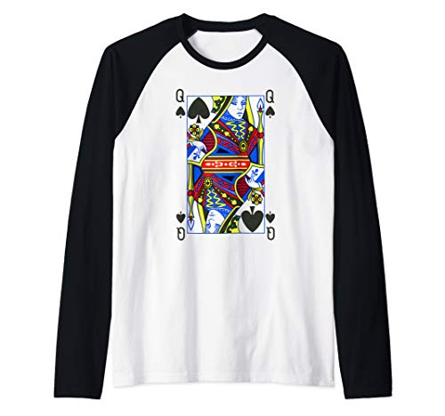 Queen of Spades Shirt| Funny Halloween Costume Tee| Poker Raglan Baseball Tee]()