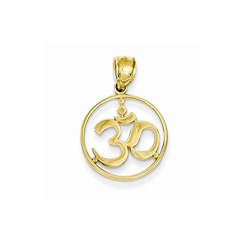 14K Cut-out Round Frame Yoga Symbol Pendant by Nina's Jewelry Box