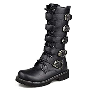 ZAKING Men's Mid Calf Buckle Strap Side Zip Punk Motorcycle Black Martin Boots